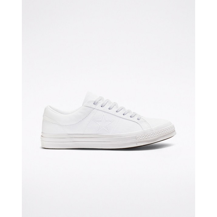 Mens Converse One Star Shoes White/White 045IYVSQ