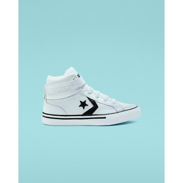 Kids Converse Pro Blaze Strap Shoes White/Black/White 053EEMGU