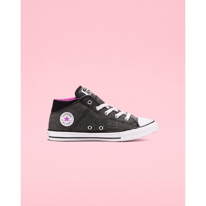 Kids Converse Madison Court Chuck Taylor All Star Shoes Black/Fuchsia/White 175VSZNX