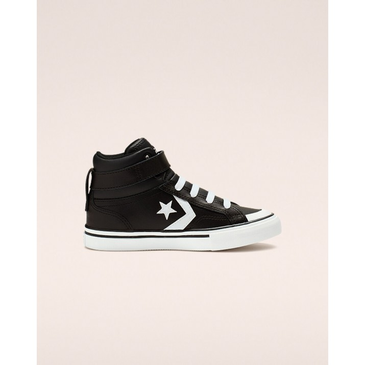 Kids Converse Pro Blaze Strap Shoes Black/White 211MXVJV