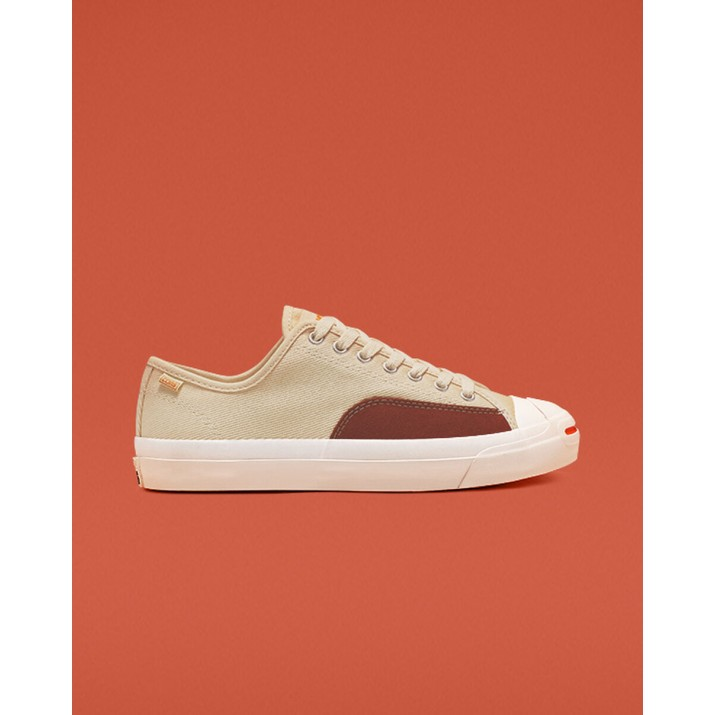 Womens Converse Jack Purcell Shoes Beige White 606CAZUQ