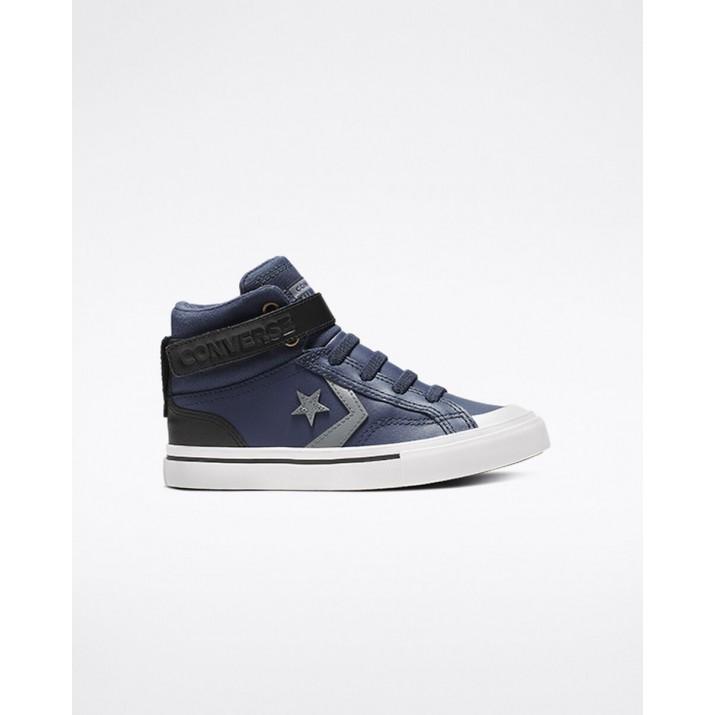 Kids Converse Pro Blaze Strap Shoes Navy/Black/Grey 749AODPU