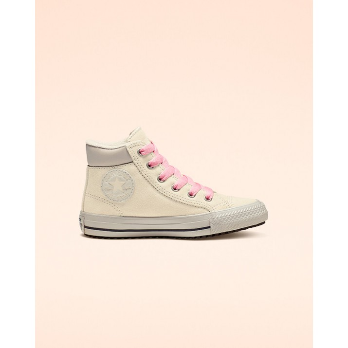 Kids Converse Chuck Taylor All Star Shoes Beige White/Pink 838VEEEK